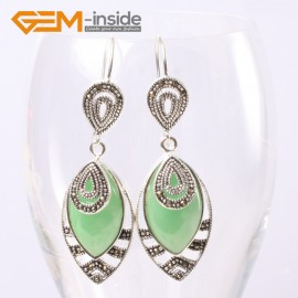 G5658 Dyed green jade Fashion 18x32mm Marquise beads tibetan silver dangle earrings for chritmas gift Ladies Birthstone Earrings Fashion Jewelry Jewellery