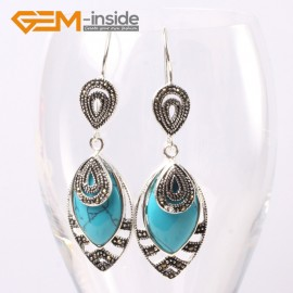 G5659 Dyed blue turquoise Fashion 18x32mm Marquise beads tibetan silver dangle earrings for chritmas gift Ladies Birthstone Earrings Fashion Jewelry Jewellery
