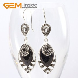 G5660 Blue sandstone Fashion 18x32mm Marquise beads tibetan silver dangle earrings for chritmas gift Ladies Birthstone Earrings Fashion Jewelry Jewellery