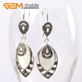 G5661 White cat eye Fashion 18x32mm Marquise beads tibetan silver dangle earrings for chritmas gift Ladies Birthstone Earrings Fashion Jewelry Jewellery