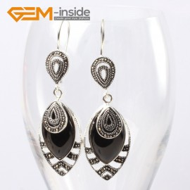 G5662 Black agate Fashion 18x32mm Marquise beads tibetan silver dangle earrings for chritmas gift Ladies Birthstone Earrings Fashion Jewelry Jewellery