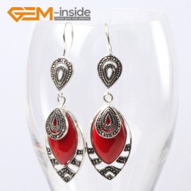G5663 Man-made red coral Fashion 18x32mm Marquise beads tibetan silver dangle earrings for chritmas gift Ladies Birthstone Earrings Fashion Jewelry Jewellery
