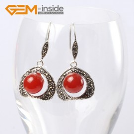 G5666 Dyed red jade Pretty 10mm round ball beads 20mm frame tibetan silver dangle earrings G-Beads Ladies Birthstone Earrings Fashion Jewelry Jewellery
