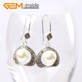 G5667 White pearl Pretty 10mm round ball beads 20mm frame tibetan silver dangle earrings G-Beads Ladies Birthstone Earrings Fashion Jewelry Jewellery