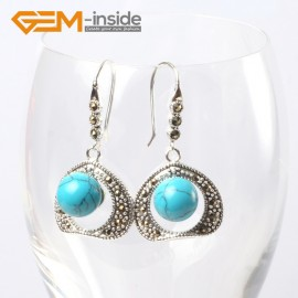 G5669 Dyed blue turquoise Pretty 10mm round ball beads 20mm frame tibetan silver dangle earrings G-Beads Ladies Birthstone Earrings Fashion Jewelry Jewellery