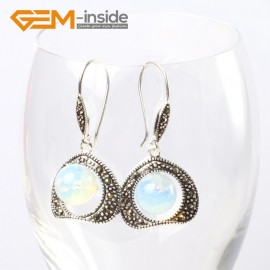 G5670 Opalite Pretty 10mm round ball beads 20mm frame tibetan silver dangle earrings G-Beads Ladies Birthstone Earrings Fashion Jewelry Jewellery
