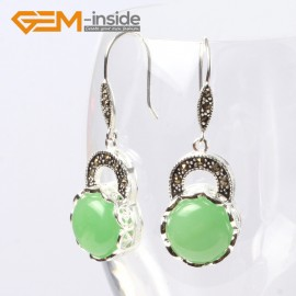 G5672 Dyed green jade Fashion pretty 16mm coin beads tibetan silver dangle earrings for chritmas gift Ladies Birthstone Earrings Fashion Jewelry Jewellery