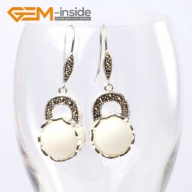 G5677 White shell Fashion pretty 16mm coin beads tibetan silver dangle earrings for chritmas gift Ladies Birthstone Earrings Fashion Jewelry Jewellery
