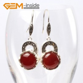 G5678 Dyed red jade Fashion pretty 16mm coin beads tibetan silver dangle earrings for chritmas gift Ladies Birthstone Earrings Fashion Jewelry Jewellery