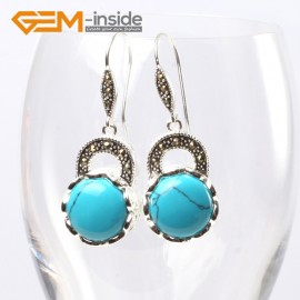 G5680 Dyed blue turquoise Fashion pretty 16mm coin beads tibetan silver dangle earrings for chritmas gift Ladies Birthstone Earrings Fashion Jewelry Jewellery