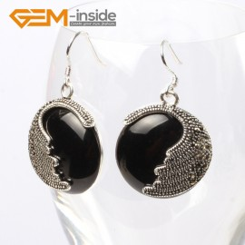 G5681 Black agate Fashion pretty 25mm coin beads tibetan silver dangle earrings for chritmas gift Ladies Birthstone Earrings Fashion Jewelry Jewellery