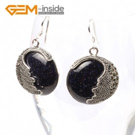G5683 Blue sandstone Fashion pretty 25mm coin beads tibetan silver dangle earrings for chritmas gift Ladies Birthstone Earrings Fashion Jewelry Jewellery
