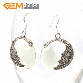 G5684 White cat eye Fashion pretty 25mm coin beads tibetan silver dangle earrings for chritmas gift Ladies Birthstone Earrings Fashion Jewelry Jewellery