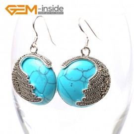 G5686 Dyed blue turquoise Fashion pretty 25mm coin beads tibetan silver dangle earrings for chritmas gift Ladies Birthstone Earrings Fashion Jewelry Jewellery