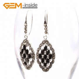 G5687 Black agate Fashion 17x29mm rhombus beads tibetan silver dangle earrings for chritmas gift Ladies Birthstone Earrings Fashion Jewelry Jewellery