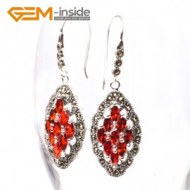 G5688 Red crystal Fashion 17x29mm rhombus beads tibetan silver dangle earrings for chritmas gift Ladies Birthstone Earrings Fashion Jewelry Jewellery