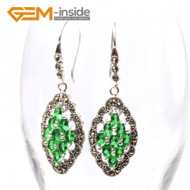 G5689 Green crystal Fashion 17x29mm rhombus beads tibetan silver dangle earrings for chritmas gift Ladies Birthstone Earrings Fashion Jewelry Jewellery