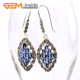 G5690 Blue crystal Fashion 17x29mm rhombus beads tibetan silver dangle earrings for chritmas gift Ladies Birthstone Earrings Fashion Jewelry Jewellery