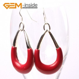G5694 Man-made red coral Fashion 29x45mm bent drop beads tibetan silver dangle earrings for chritmas gift Ladies Birthstone Earrings Fashion Jewelry Jewellery