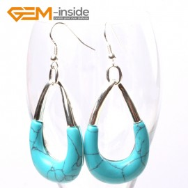 G5695 Dyed blue turquoise Fashion 29x45mm bent drop beads tibetan silver dangle earrings for chritmas gift Ladies Birthstone Earrings Fashion Jewelry Jewellery