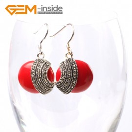G5697 Man-made red coral  Fashion 28mm coin beads tibetan silver dangle earrings 1 pair for chritmas gift Ladies Birthstone Earrings Fashion Jewelry Jewellery