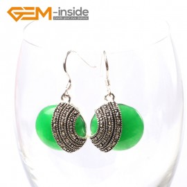 G5701 Dyed green jade Fashion 28mm coin beads tibetan silver dangle earrings 1 pair for chritmas gift Ladies Birthstone Earrings Fashion Jewelry Jewellery
