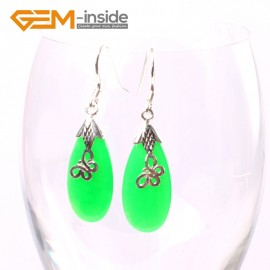 G5706 Dyed green jade 12x30mm Drip Beads Tibetan Silver Dangle Earrings Fashion Jewelery Earrings Ladies Birthstone Earrings Fashion Jewelry Jewellery