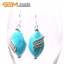 G5708 Dyed blue turquoise Fashion 16x32mm rhombus Marcasite beads silver dangle earrings 1 pair G-Beads Ladies Birthstone Earrings Fashion Jewelry Jewellery