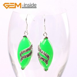 G5709 Dyed green jade Fashion 16x32mm rhombus Marcasite beads silver dangle earrings 1 pair G-Beads Ladies Birthstone Earrings Fashion Jewelry Jewellery
