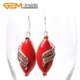 G5711 Man-made red coral Fashion 16x32mm rhombus Marcasite beads silver dangle earrings 1 pair G-Beads Ladies Birthstone Earrings Fashion Jewelry Jewellery