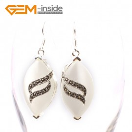 G5712 White cat eye Fashion 16x32mm rhombus Marcasite beads silver dangle earrings 1 pair G-Beads Ladies Birthstone Earrings Fashion Jewelry Jewellery