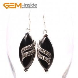 G5713 Black agate Fashion 16x32mm rhombus Marcasite beads silver dangle earrings 1 pair G-Beads Ladies Birthstone Earrings Fashion Jewelry Jewellery