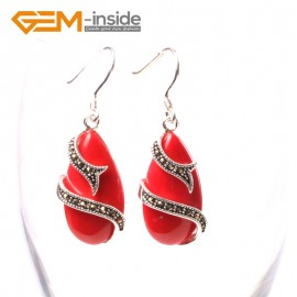 G5714 Man-made red coral G-Beads Fashion 14x24mm drip beads Marcasite silver dangle earrings Ladies Birthstone Earrings Fashion Jewelry Jewellery