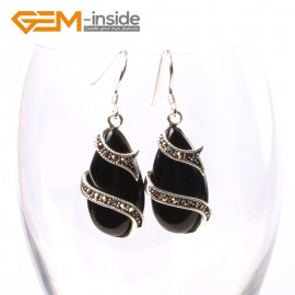 G5716 Black agate G-Beads Fashion 14x24mm drip beads Marcasite silver dangle earrings Ladies Birthstone Earrings Fashion Jewelry Jewellery