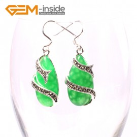 G5718 Dyed green jade G-Beads Fashion 14x24mm drip beads Marcasite silver dangle earrings Ladies Birthstone Earrings Fashion Jewelry Jewellery
