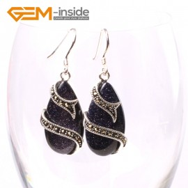 G5719 Blue sandstone G-Beads Fashion 14x24mm drip beads Marcasite silver dangle earrings Ladies Birthstone Earrings Fashion Jewelry Jewellery