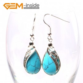 G5720 Dyed blue turquoise G-Beads 14x30mm Drip Beads Marcasite Silver Dangle Earrings Fashion Jewelry Ladies Birthstone Earrings Fashion Jewelry Jewellery