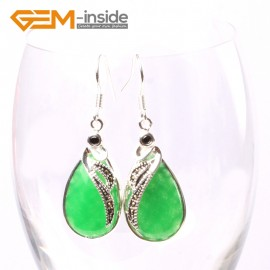 G5721 Dyed green jade G-Beads 14x30mm Drip Beads Marcasite Silver Dangle Earrings Fashion Jewelry Ladies Birthstone Earrings Fashion Jewelry Jewellery