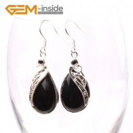 G5722 Black agate G-Beads 14x30mm Drip Beads Marcasite Silver Dangle Earrings Fashion Jewelry Ladies Birthstone Earrings Fashion Jewelry Jewellery
