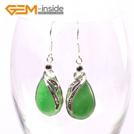 G5724 Dyed green jade G-Beads 14x30mm Drip Beads Marcasite Silver Dangle Earrings Fashion Jewelry Ladies Birthstone Earrings Fashion Jewelry Jewellery