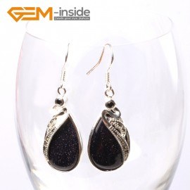 G5725 Blue sandstone G-Beads 14x30mm Drip Beads Marcasite Silver Dangle Earrings Fashion Jewelry Ladies Birthstone Earrings Fashion Jewelry Jewellery