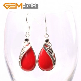 G5726 Man-made red coral G-Beads 14x30mm Drip Beads Marcasite Silver Dangle Earrings Fashion Jewelry Ladies Birthstone Earrings Fashion Jewelry Jewellery