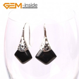 G5727 Black agate Fashion pretty 15mm square beads Marcasite silver dangle earrings  G-Beads Ladies Birthstone Earrings Fashion Jewelry Jewellery
