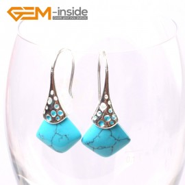 G5730 Dyed blue turquoise Fashion pretty 15mm square beads Marcasite silver dangle earrings  G-Beads Ladies Birthstone Earrings Fashion Jewelry Jewellery