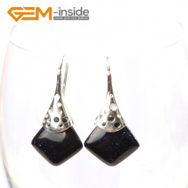 G5732 Blue sandstone Fashion pretty 15mm square beads Marcasite silver dangle earrings  G-Beads Ladies Birthstone Earrings Fashion Jewelry Jewellery
