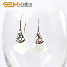 G5733 White cat eye Fashion pretty 15mm square beads Marcasite silver dangle earrings  G-Beads Ladies Birthstone Earrings Fashion Jewelry Jewellery