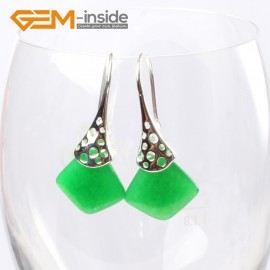 G5734 Dyed green jade Fashion pretty 15mm square beads Marcasite silver dangle earrings  G-Beads Ladies Birthstone Earrings Fashion Jewelry Jewellery