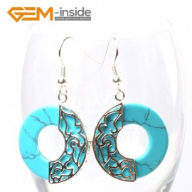 G5737 Dyed blue turquoise Fashion Pretty 28mm ring beads Marcasite silver dangle earrings 1 pairG-Beads Ladies Birthstone Earrings Fashion Jewelry Jewellery