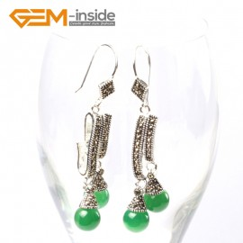 G5739 Dyed green jade Fashion  Pretty 8mm round beads Marcasite silver dangle earrings G-Beads Ladies Birthstone Earrings Fashion Jewelry Jewellery
