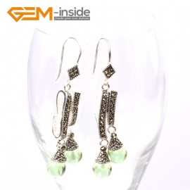 G5741 Green crystal Fashion  Pretty 8mm round beads Marcasite silver dangle earrings G-Beads Ladies Birthstone Earrings Fashion Jewelry Jewellery